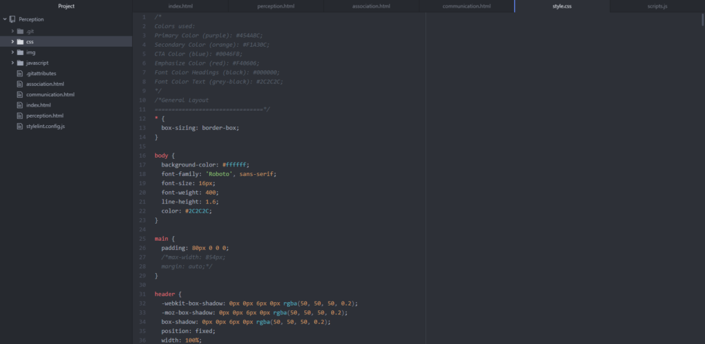 image of CSS code