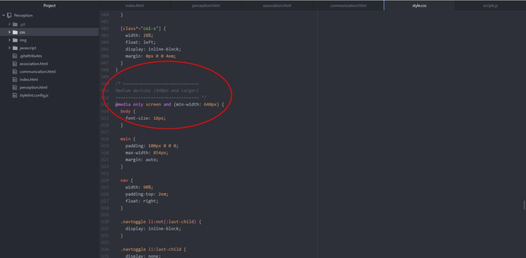 image of responsive css code
