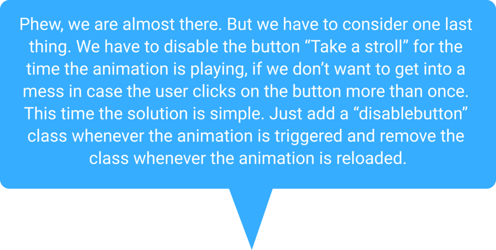 Speech bubble for disabled button