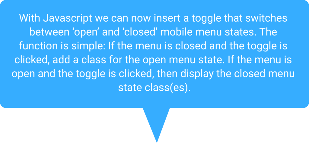 Speech bubble explaining Javascript toggle