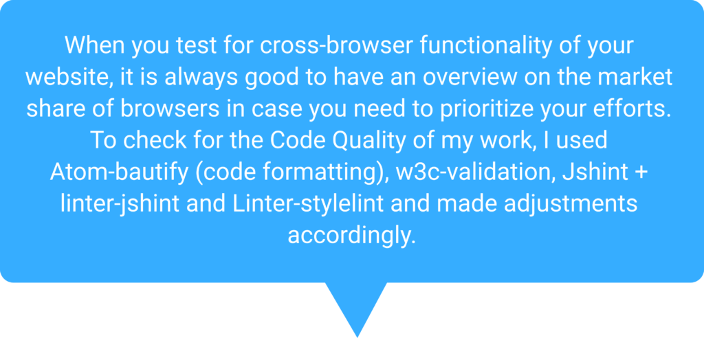 Speech bubble about code quality and cross-browser testing