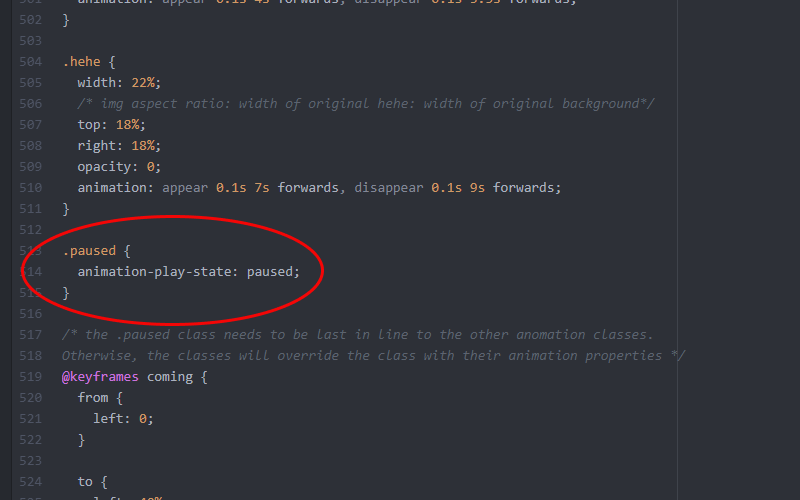 image of css code for 'paused' class