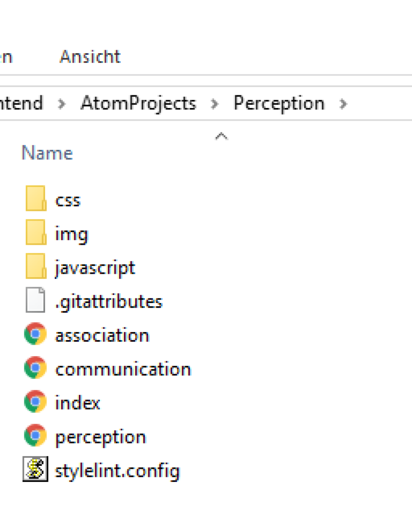 image of project folder