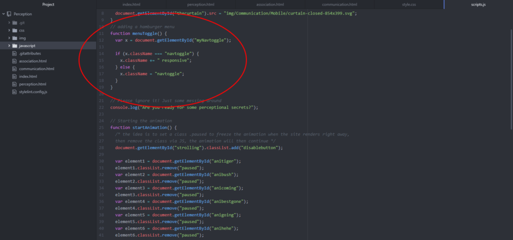 image of Javascript toggle code
