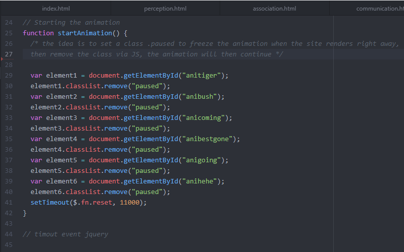 image of Javascript code for animation trigger