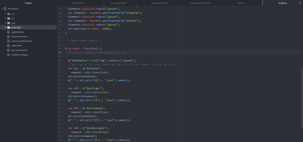 image of javascript code to reload the animation
