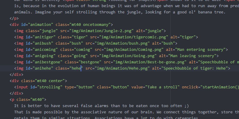 image of animation html code
